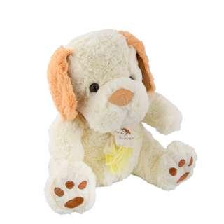 Мягкая игрушка собачка с шарфиком 28 см молочная с рыжими ушками оптом