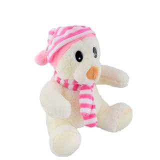 Мягкая игрушка мишка в полосатой розовой шапке с шарфиком 26 см белый оптом