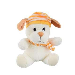 Мягкая игрушка собачка в полосатой желтой шапке с шарфиком 25 см молочная оптом