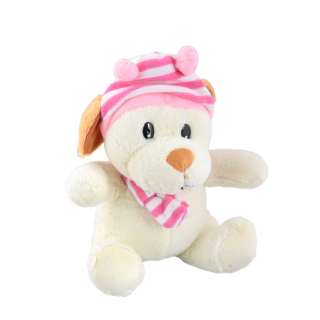 Мягкая игрушка собачка в полосатой розовой шапке с шарфиком 25 см молочная оптом