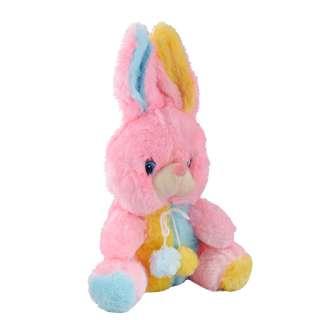 Мягкая игрушка зайка 28 см розовый с желтой и голубой отделкой оптом