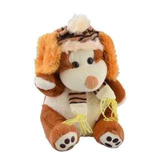 Мягкая игрушка собачка в шапке с шарфиком 30 см коричневая с белой мордочкой оптом