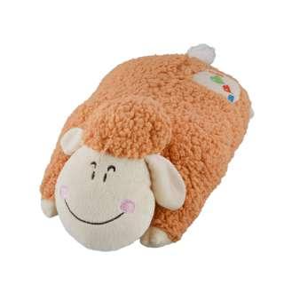 Мягкая подушка игрушка овечка 42 см высота 18 см бежевая оптом