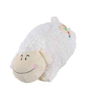Мягкая подушка игрушка овечка 42 см высота 16 см белая оптом
