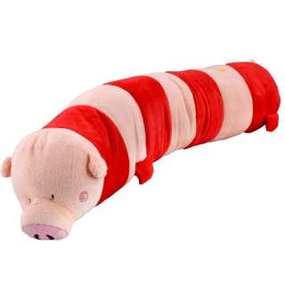 Мягкая подушка валик игрушка свинка 70 см высота 15 см розовая с красным оптом