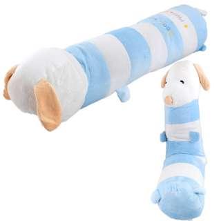 Мягкая подушка валик игрушка такса 73 см высота 18 см белая с голубым оптом