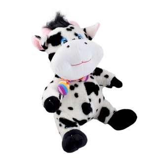 Мягкая игрушка корова сидит 35 см пятнистая белая с черным оптом