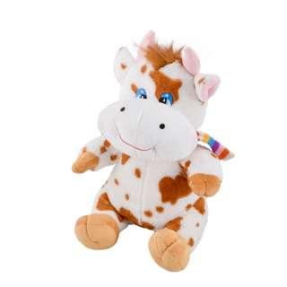 Мягкая игрушка корова сидит 35 см пятнистая белая с рыжим оптом