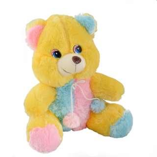 Мягкая игрушка мишка 35 см желтый с розовой и голубой отделкой оптом