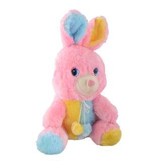 Мягкая игрушка зайка 30 см розовый с желтой и голубой отделкой оптом