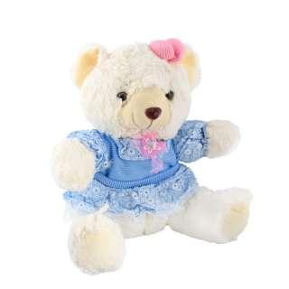 Мягкая игрушка мишка в голубом платье 32 см белый оптом