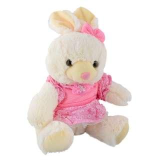 Мягкая игрушка зайка в розовом платье 32 см белый оптом
