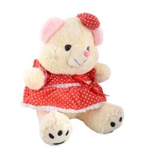 Мягкая игрушка мишка в красном платье 40 см кремовый оптом