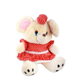Мягкая игрушка мышка в красном платье с бантиком 39 см кремовая оптом