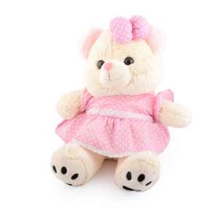 Мягкая игрушка мишка в розовом платье 40 см кремовый оптом