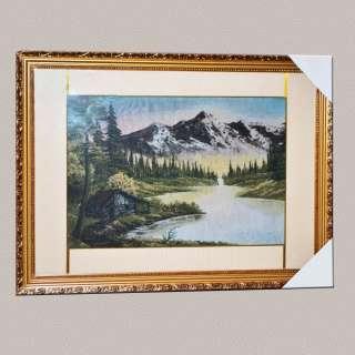 Картина гобелен під склом будиночок на березі озера в горах оптом