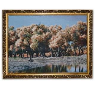 Картина гобелен рама з квітами 57х77 ліс біля озера оптом