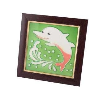 Картина настольная керамика эмаль дельфин коричневая рамка 19х19х1,5 см оптом