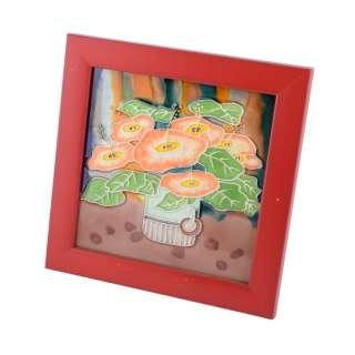 Картина настольная керамика эмаль букет цветов красная рамка 19х19х1,5 см оптом