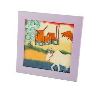Картина настольная керамика эмаль вол фиолетовая рамка 19х19х1,5 см оптом