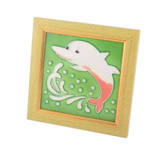 Картина настольная керамика эмаль дельфин бежевая рамка 19х19х1,5 см оптом