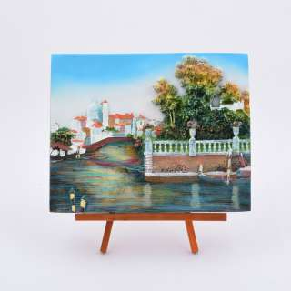 Картина настольная объемная на мольберте 18 х 22 см Лодки в заливе оптом