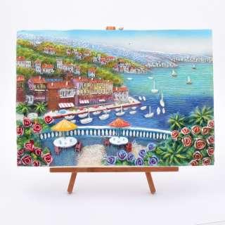 Картина настольная объемная на мольберте 24 х 33 см Город у моря оптом