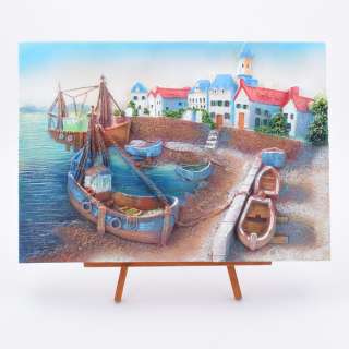Картина настольная объемная на мольберте 24 х 33 см Лодки в заливе оптом