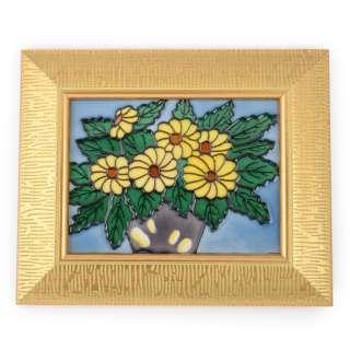 Картина керамика эмаль букет подсолнухов золотистая рама 28х23х2,5 см оптом