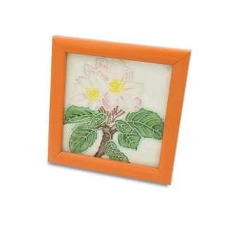 Картина настольная керамика эмаль яблоневый цвет оранжевая рамка 13х13х1,5 см оптом