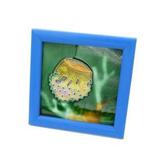 Картина настольная керамика эмаль медуза синяя рамка 13х13х1,5 см оптом