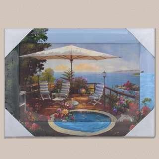 Картина 34 х 47см Терраса с бассейном у моря оптом