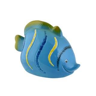 Копилка керамическая рыбка 10х15х8 см синяя оптом