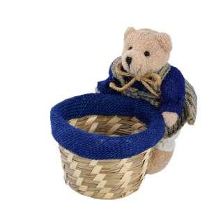 Кошик для рукоділля солом'яний 8х10х10 см з ведмедиком в платічке14 см оптом