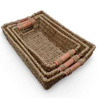 Набор корзин плетеные 3 шт. прямоугольные деревянные ручки 27х17х8 см, 31х21х9 см, 35х24х10,5 см оптом