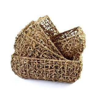 Набор корзин плетеные 4 шт. 21х15х10 см, 26х20х11см, 30х24х12,5 см, 34х28х13,5 см оптом