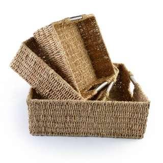 Набор корзин плетеные 3 шт. квадратные металлические ручки 29х29х11см, 34х34х13 см, 40х40х15 см оптом