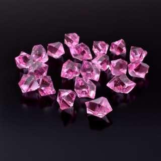 Кристаллы акрил 1,5x1,5x2,5 см розовые упаковка 180 шт оптом
