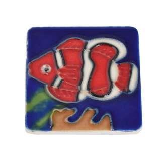 Магнит сувенирный керамика глазурь 6 х 6 см рыба клоун оптом