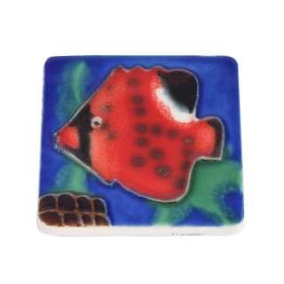 Магнит сувенирный керамика глазурь 6 х 6 см рыба красная оптом