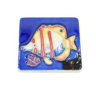 Магнит сувенирный керамика глазурь 6 х 6 см рыба бабочка оптом