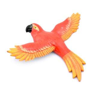 Магнит на холодильник Попугай 13х11см красный с оранжево-желтыми крыльями оптом