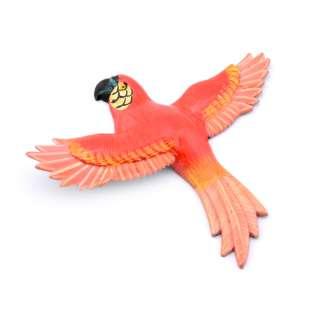 Магнит на холодильник Попугай 13х11см красный с розовыми крыльями оптом