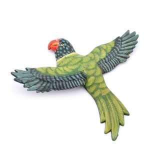 Магнит на холодильник Попугай 13х11см зеленый с пестрыми крыльями оптом