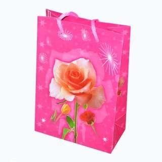 Пакет подарочный 16х12х6 см с розой малиновый оптом