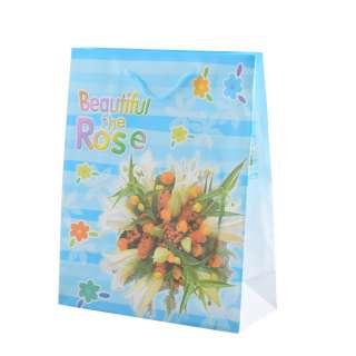 Пакет подарунковий 23х18х7,5 см в смужку Beautiful The Rose блакитний оптом