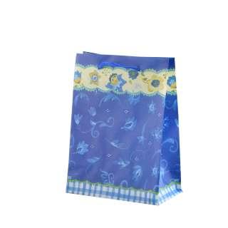 Пакет подарочный 16х12х6 см c каймой желтой цветами синий оптом