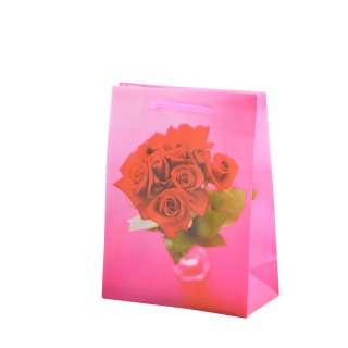 Пакет подарунковий 16х12х6 см з трояндами червоними малиновий оптом