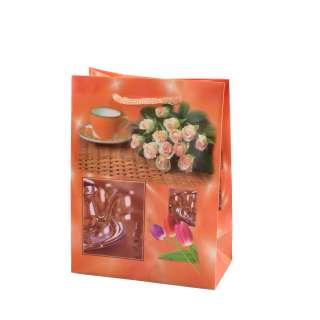 Пакет подарунковий 16х12х6 см з чашкою і трояндами помаранчевий оптом