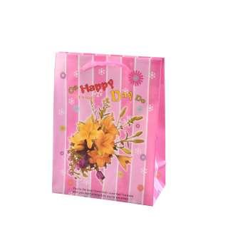 Пакет подарунковий 16х12х6 см в смужку On Happy Day рожевий оптом